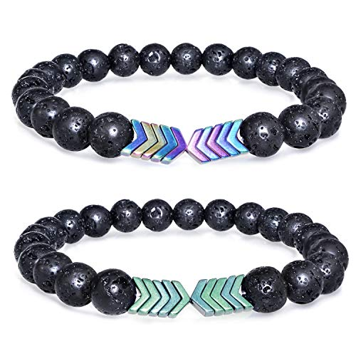 Gleamart 2 Pcs Lava Rock Stone Bead Bracelet Arrow Essential Oil Diffuser Volcanic Stone Bracelet for Men Women Colorful with Green