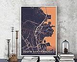 MG global Póster de mapa del sur de San Francisco California Ca Usa ColorHometown City Print moderno decoración del hogar decoración de la oficina arte de pared dormitorio regalo sin marco