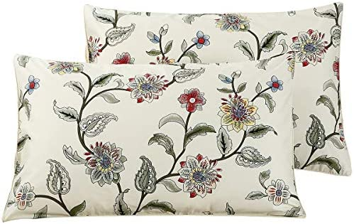 WINLIFE 100 Cotton Pillowcases 1000 Thread Count Floral Printed Pillow Cases Set of 2 Pillow product image