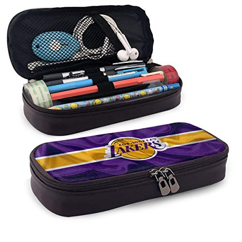 Rico Los Angeles Lakers Pencil Case Leather Large Storage Stationery Bag Pencil Bag for Girls Teens Students Art School and Office Supplies