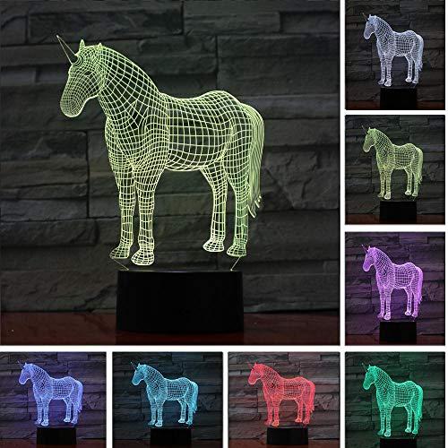 JJIEZZ Escultura de luz Nocturna 3D 7 Cambio de Color Lámpara de Escritorio de Mesa táctil/Control Remoto Decoración 04_Toque 7color_Federación Rusa