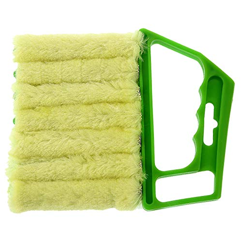 Window Blinds Cleaner Duster Brush with Hand-held Mini 7 Finger Dusting Cleaner Tool Dirt Cleaner Tools for Window Blinds Air Conditioner Jalousie With Shutter Brush Gargets (6.3x5.31inch) (Green)