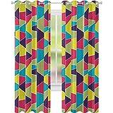Cortinas de bloqueo de luz, patrón de mosaico con líneas y elementos dibujados a mano con formas trapezoidales, cortinas de ventana de 52 x 84 para habitación de bebés, multicolor