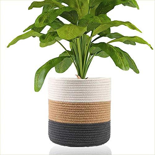 Cotton Rope Plant Basket, Modern Jute Rope Plant Flower Pot, Multifunctional Creative Home Decor Woven Organizer Black Brown White (Size : 30 * 30cm)