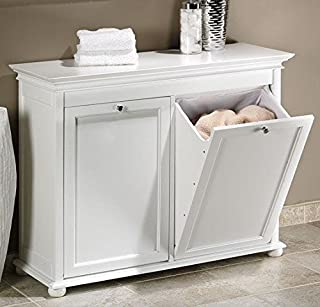 Home Decorators Collection Hampton Bay 35 Inch White Double Tilt Out Bathroom Hamper, 27