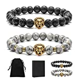 Lava Bead Bracelet Men Lion - Natural Stone Beaded Bracelets with Lion Head Charm Healing Energy Power Anxiety Relax Bracelet Cool Bracelets Jewelry Gifts for Men