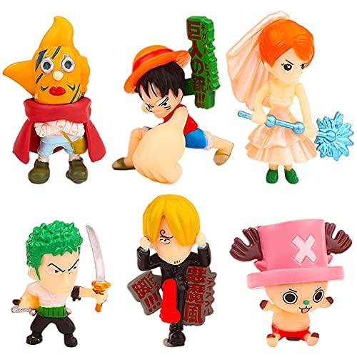One Piece Adornos para Tartas ,Mini One Piece Caricatura Cake Topper, Fiesta de Cumpleaños DIY Decoración Suministros,Baby Baptism Birthday Party Cake Decoraciones,6 Piezas