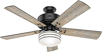 Hunter Indoor / Outdoor Ceiling Fan with light and remote control - Cedar Key 52 inch, Black, 55078