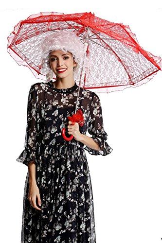 DRESS ME UP - YS-001R Parasol Spitze Sonnenschirm Barock Rokoko Viktorianisch Biedermeier Rot Gothic...