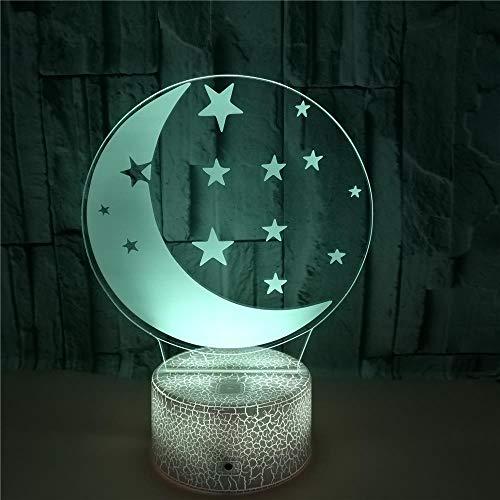 Luna Led Decoración Lámpara Escritorio, 7 Del Tacto Del Color Luz Noche Usb, Con Control Remoto Lámpara Ilusión Óptica 3D, Para Regalos De Cumpleaños Niños Y Niñas