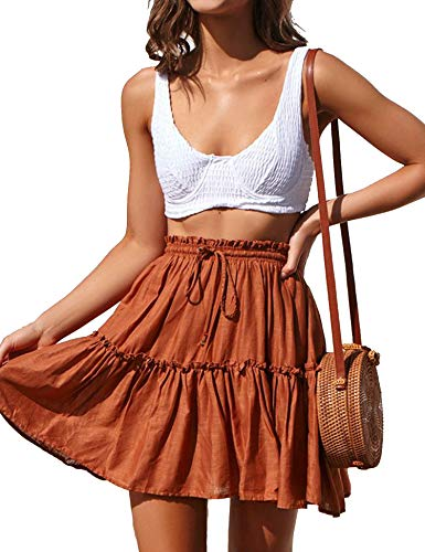 Relipop Women's Flared Short Skirt Polka Dot Pleated Mini Skater Skirt with Drawstring Caramel