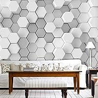 Djskhf カスタム写真の壁紙3Dステレオホワイトジオメトリ壁画モダンなシンプルなリビングルーム研究抽象芸術壁紙3D 240X165Cm