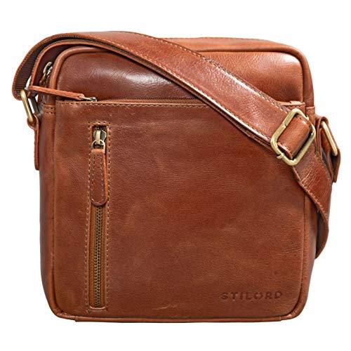 STILORD 'Benno' Bolso Bandolera Hombre Piel Vintage Pequeño Marrón Bolsito de Cuero Tipo Messenger Bag para Tablet 9,7 Pulgadas, Color:Cognac - Brillante