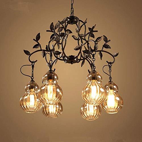 Raelf 6-jefe de diseño industrial elegante retro del arte minimalista de la lámpara redonda colgante de cristal de techo Loft Bar Club lámpara de iluminación regulable rústico alambre duro lámpara col