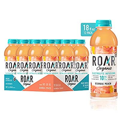 Roar Organic Electrolyte Infusions - USDA Organic - Georgia Peach - with Antioxidants, B Vitamins, Low-Calorie, Low-Sugar, Low-Carb, Coconut Water Infused Beverage 18 Fl Oz (Pack of 12)