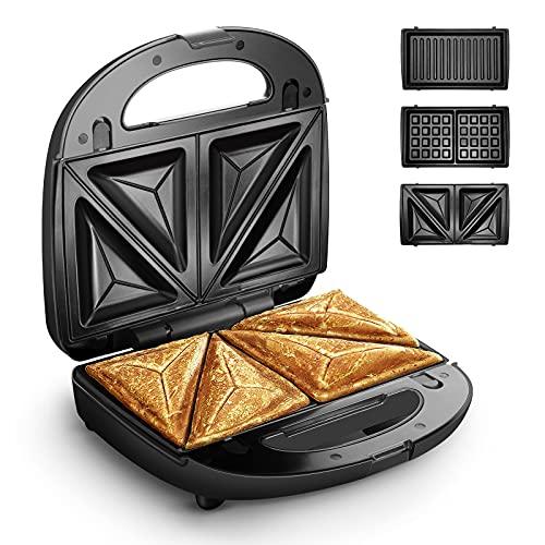 Waffle Maker, HOMEVER 3-IN-1 Sandwich Maker