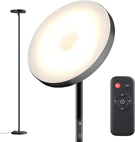 Floor Lamp,30W Sky Super Bright 2800K-7000K Torchiere Floor Floor Lamp with Timer, 2800lumens LED Floor Lamp with Ste...