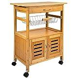 ONVAYA® Küchenrollwagen | Nischenwagen Holz Bambus | Beistellwagen mit 4 Rollen und Schublade |...