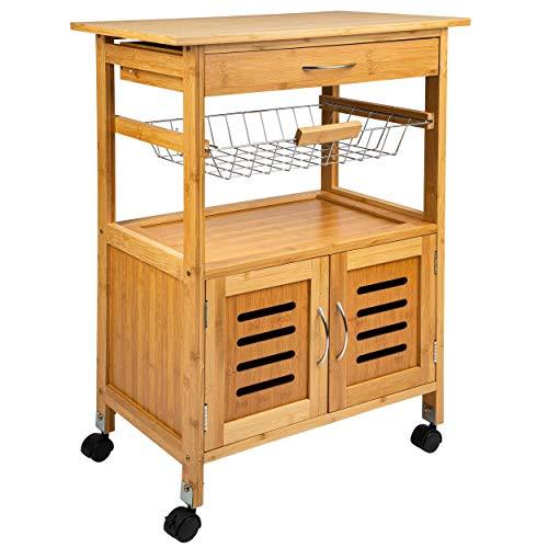 ONVAYA Carrito de cocina de madera, color blanco, bambú, carrito auxiliar con ruedas (carrito de cocina de bambú)
