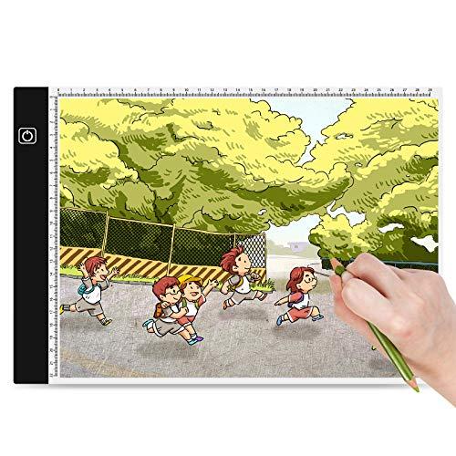 Suranew Mesa de Luz para Calcar, LED Tableta de Luz Dibujo A4 de Iluminación de la Caja de Alimentación Micro USB Ideal para Animacion Tatoo Dibuja