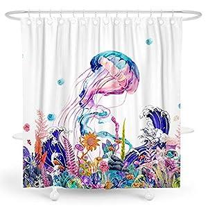 BARGHE Ocean Shower Curtain, Jellyfish Shower Curtain Nautical Shower Curtain Cool Shower Curtain Deep Sea Shower Curtain Tropical Fish Shower Curtain Summer Polyester Waterproof Shower Curtain 72x72