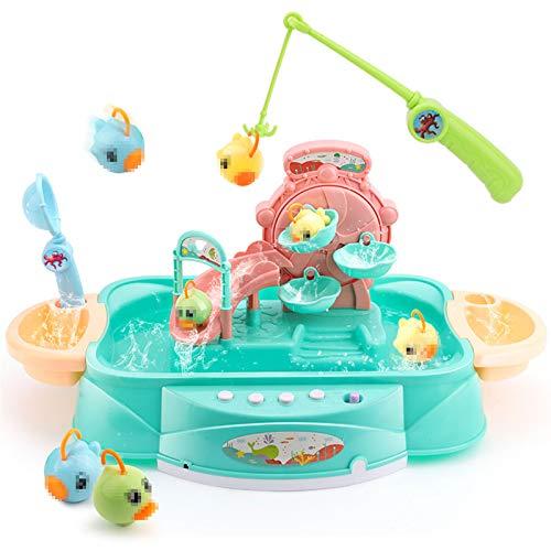 TWW Juguete de Agua Recargable Diaoyutai, Toma de Agua eléctrica 1-2-3 años Rompecabezas de educación temprana para bebés niños y niñas,Verde