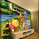 Bedroom Background Wall_Girl Cute Cartoon self-Adhesive Winnie The Pooh boy Bedroom Background Wall 3D Mural Wallpaper 3D Wallpapers Wallpaper Paste Living Room Paste The wall-300cm×210cm