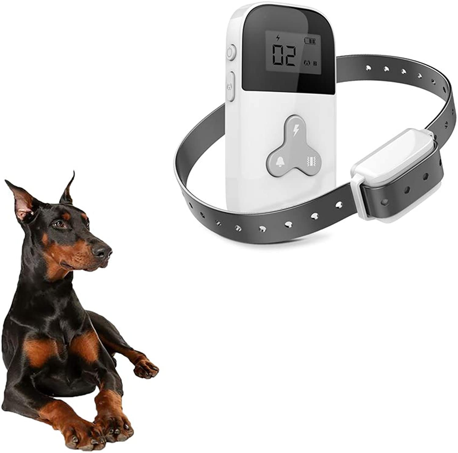 Dog Training Collar with Remote  300 Meters Range & Waterproof Receiver & LCD Display, Adjustable Small Dog AntiBarking Collar with 15 Level Shock &Vibration