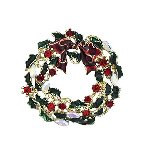 YOQUCOL Christmas Wreath Brooch Pins for Women Girls Christmas New Year Jewelry Gift
