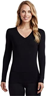 Cuddl Duds Softwear with Stretch Long Sleeve V-Neck Top for Women (Black)
