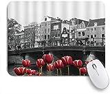 FAKAINU Alfombrilla de ratón,Foto monocromática en Blanco y Negro del Canal de Amsterdam con Casas de Tulipanes Rojos,Goma Antideslizante Rectangular para Escritorio,portátil,Oficina,Trabajo