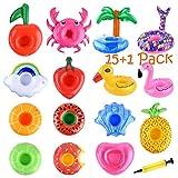 FEPITO Paquet de 15 Porte-gobelets gonflables avec Pompe à air, Porte-gobelets Flamingo Donut Fruit Pool pour Les Fournitures de fête d'été, sous-Verres gonflables Variety Drink Floats