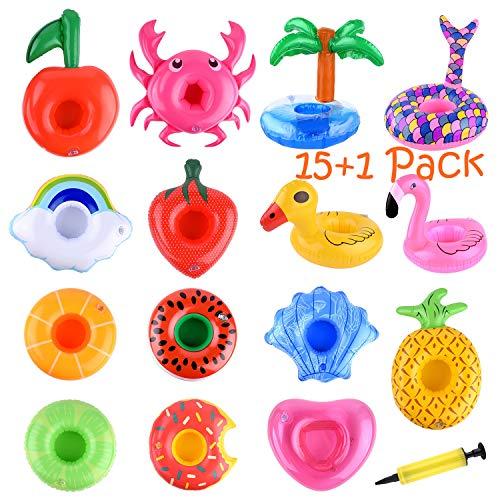 FEPITO 15er Pack Aufblasbare Getränkehalter mit Luftpumpe, Flamingo Donut Fruit Pool Getränkebecherhalter für Sommer-Poolpartyzubehör, Aufblasbare Untersetzer Variety Drink Floats