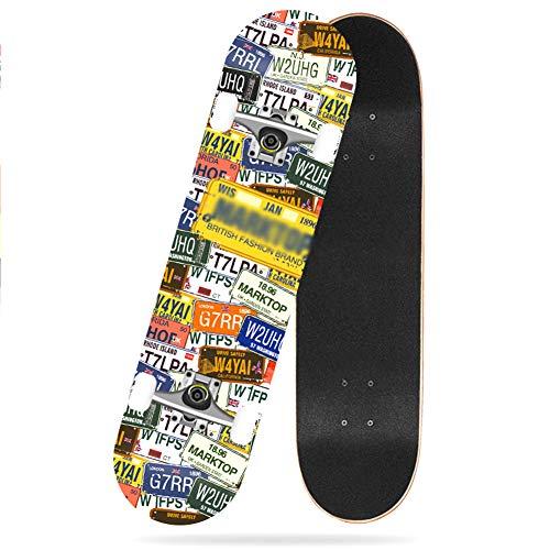 SJSF Y Skateboard Juego Completo Arce de 7 Capas Calle del Parque Patineta de Doble Patada Completa Hijos Adultos Principiante Mayor