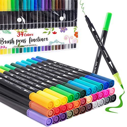 Rotuladores para colorear, marcador de doble punta de pincel para colorear adultos, 34 colores de caligrafía pincel punta fina pluma para planificador de diario principiante, dibujo, garabato
