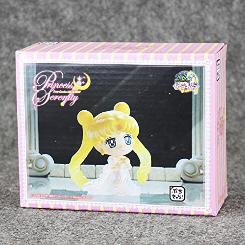 5.5Cm Anime Sailor Moon Petit Chara Land Princess Serenity con Llavero PVC Figura de acción Modelo Caja de Juguete