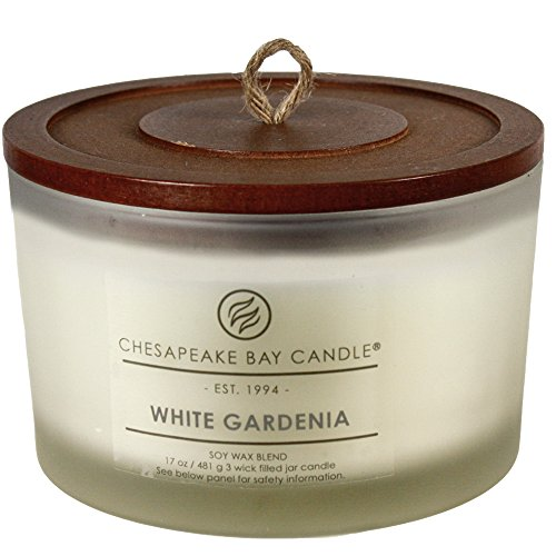 Chesapeake Bay Candle 3-Wick Scented Candle, White Gardenia, Coffee Table Jar