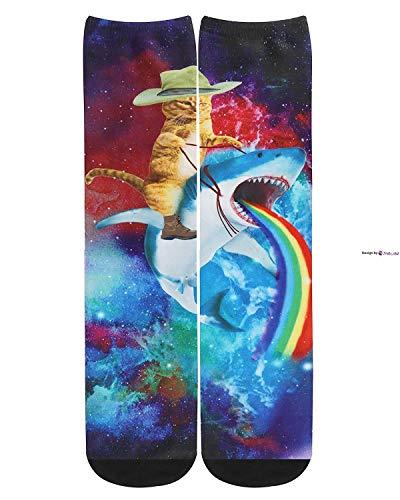 Jackgold Honey Chaussettes unisexe pour homme Motif galaxie arc-en-ciel mignon animal chat chat chat Taille unique Captain Cat Ride Shark