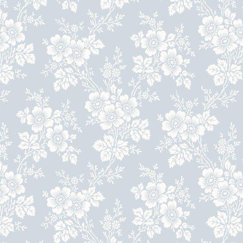 BorasTapeter 1615 Vintage Fleece Wallpaper With Flower Tendrils Design White Soft Blue
