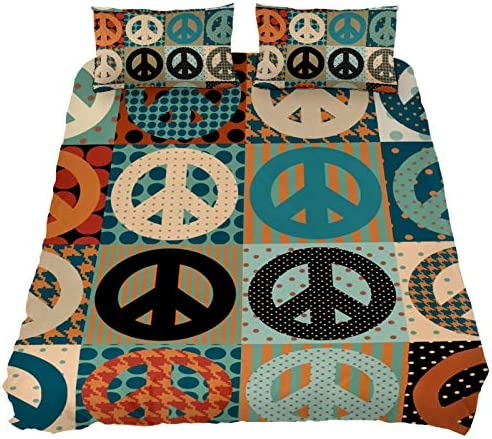 LORVIES Peace Sign Pacific Symbol Comforter Bedding Sets Soft 3 Piece California King Size with product image