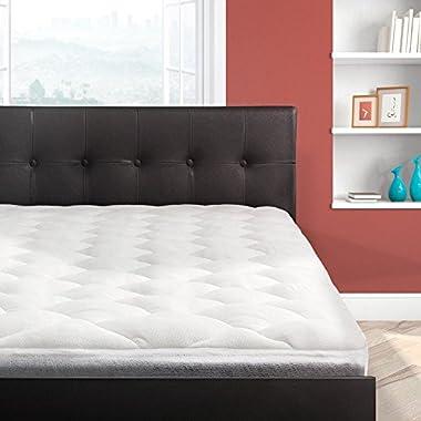 Cardinal & Crest Bamboo Overfilled Pillow Top Mattress Pad | Superb Temperature Regulation | Mattress Topper Made in The USA, Queen Size