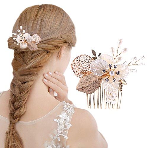 Oshide Bridal Headpiece Accessoires de Cheveux de Mariage Clips Perles Crystal Clip-in-Pin peigne à la main avec Perle et Strass