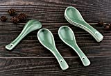Syndecho 6pcs Green Soup Spoons Bone Chinese Dinner Spoons for Wedding Gift 4.2x14cm (Dark Green)
