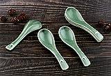Syndecho 6 cucharas verdes de sopa de hueso chino, para regalo de boda, 4,2 x 14 cm, color verde oscuro