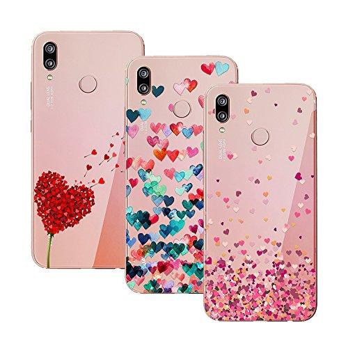 EUGO [3 Pack] Cover Huawei P20 Lite, Morbido TPU Cover limpido Slim Anti Scivolo Protezione Case per Huawei P20 Lite, Color-4