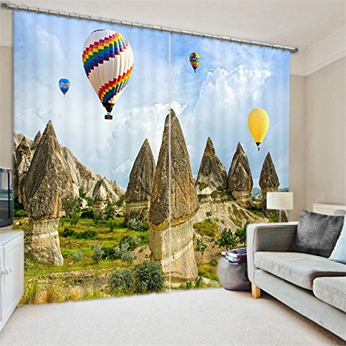 Maoyym2 gordijnen, 3D-raamgordijn, luxe voor woonkamer, kantoor, slaapkamer, Cortinas, ballon, landschap print H213 X W203CM
