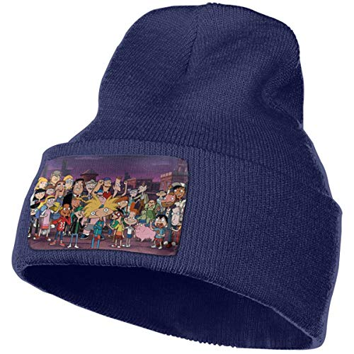 Hey Arnold Classic Winter Warm Knit Hat Beanie Cap for Men Women Navy