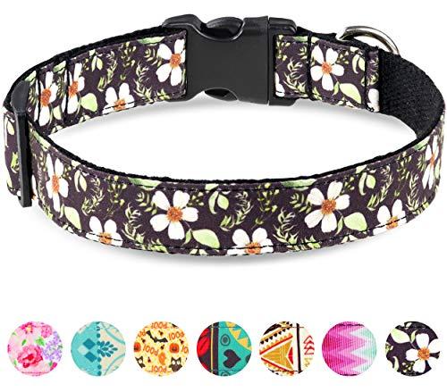Taglory Verstellbares Hundehalsband,Weich & Komfort Hunde Halsband für Kleine Hunde,Schwarze Blume