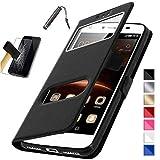KONTARBOOR Etui Housse Coque Noir ASUS Zenfone 5 Lite ZC600KL + Film Verre Trempé + Stylet [Dimensions PRECISES de Votre Appareil...