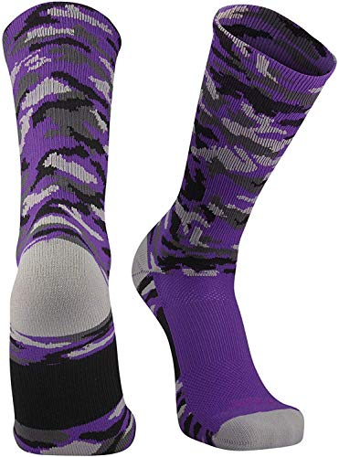 TCK Sports Elite Woodland Camo Crew Socks (Purple, Medium)